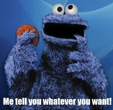 Cookie monster in an interrogation room.